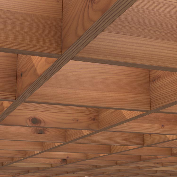 Acoustic wood ceiling baffle grids